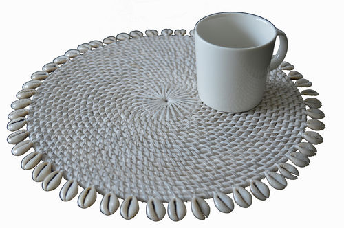 Placemat, round rattan white