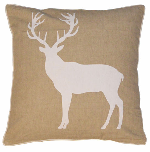 Beige background deer pillow case
