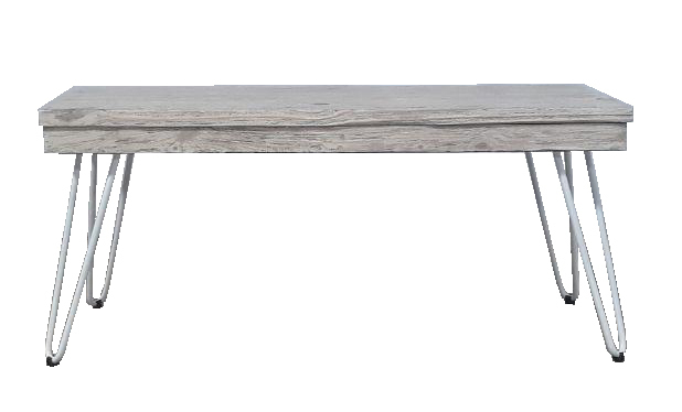 Bench with metal legs grey